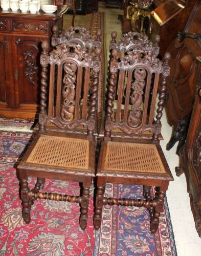 Beautiful Set Of 4 French Antique Carved Oak Louis XIII Dining Room Chairs.
