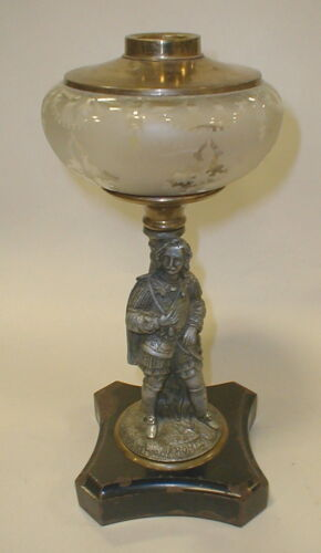 "Antique figural oil lamp base with stem figure of Romeo. 12.25"" tall.... Lot 266"