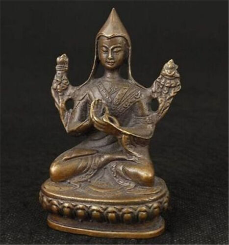 Chinese OLD Bronze Carved Tibetan temple Buddhism Je Tsongkhapa Buddha Statue