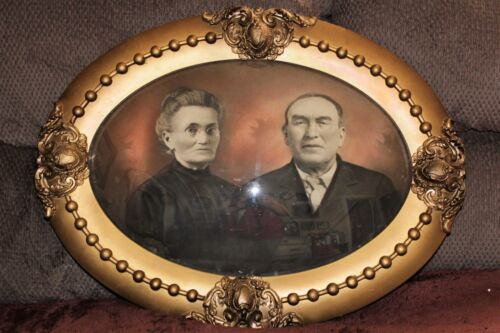 Large Victorian Antique Oval Picture Frame Convex Glass Photo of Couple Gold