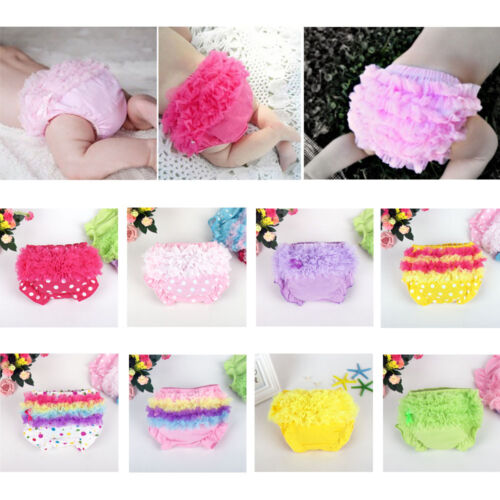 Kid Baby Girl Toddler Ruffle Pants Bow Bloomers Diaper Nappy Cover Panties 3-24M