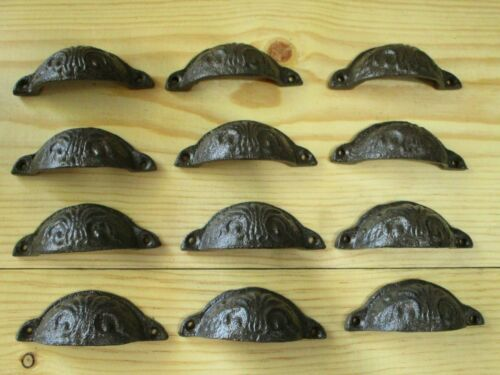 "12 CAST IRON BROWN 3 3/4"" CUP PULLS DRAWER CABINET BIN HANDLES RUSTIC VINTAGE"