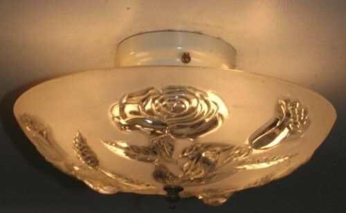 Antique frosted glass roses art deco light fixture ceiling chandelier 1940s