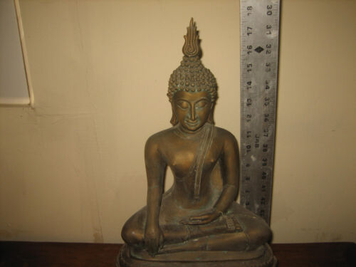 "18"" Two Piece Thailand Buddha Lotus Statue"