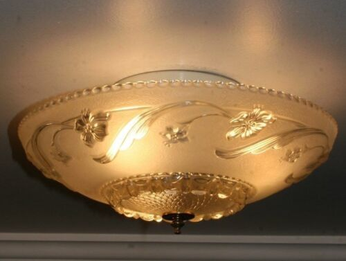 "Antique 14"" frosted glass art deco light fixture ceiling chandelier Porelier"