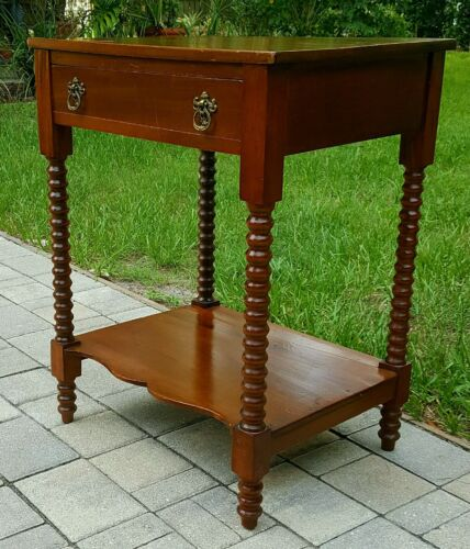 Antique LATE 1800'S CHERRY wood BOBBIN  TWIST wash stand SIDE ACCENT TABLE