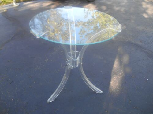 Vintage Mid-Century Acrylic Lucite Hollywood Regency End Table Rare!!!