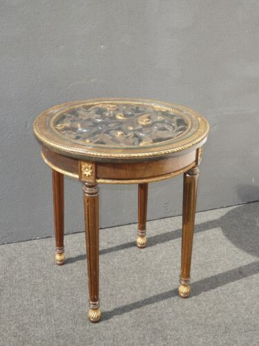 Beautiful Vintage French Provincial Gold Gilt END TABLE Carved Wood Glass Top