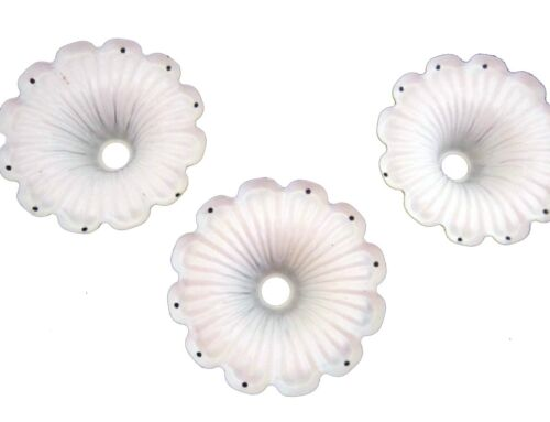 """Lot of 3 Flower cup Bobeche with 8 pin holes for hanging prisms 2 3/4"""" dia"""