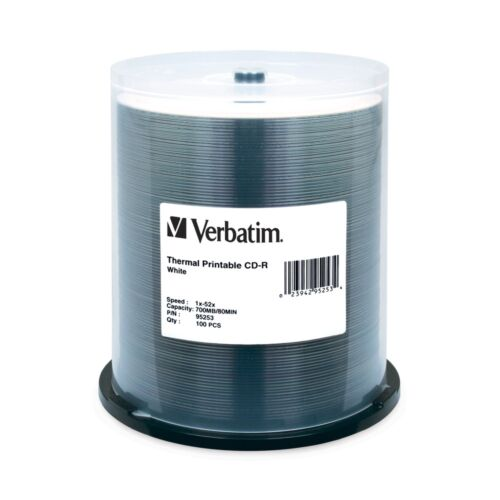 Verbatim 700MB 52X 80min Blank CD-R Media Disc│Extra Protection│100 Pack Spindle