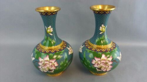 2pc Matching PAIR VINTAGE CLOISONNE ENAMEL BRASS CHINESE Vase Bird Chrysanthemum