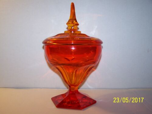 Viking Glass Persimmon Orange Pedestal Bowl Compote W/ Lid