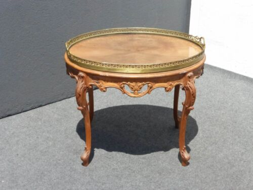 Vintage French Provincial Carved Wood  COFFEE TABLE End Table  W brass top
