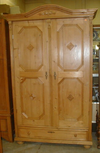 European pine armoire with wax finish and lower drawer. Repurposed wi... Lot 197