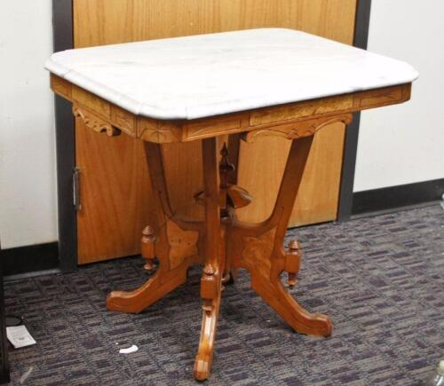 Antique Eastlake Victorian Marble Top Parlor Side Table !!