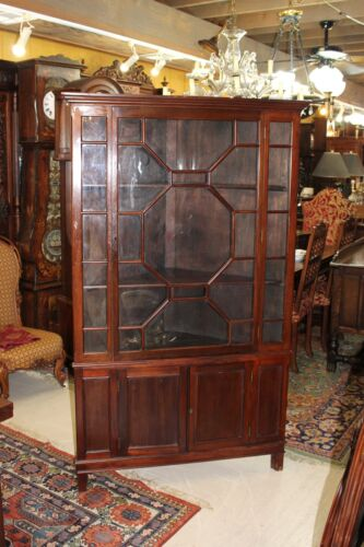 Beautiful Antique English Mahogany Large Breakfront Corner Cabinet.