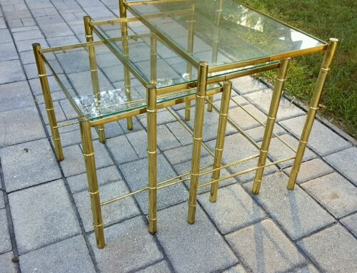 Gold bamboo nesting stacking tables Chippendale Hollywood regency mid century