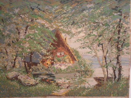 Gobelin Tapestry Intarsia Wooden Art Hand Made micro mosaic A Sunny Clearing