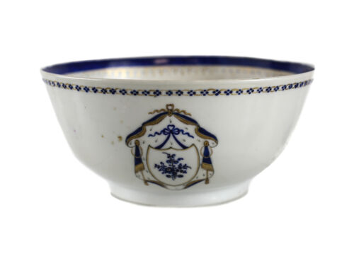Chinese Export Hand Painted Porcelain Bowl c1810  armorial blue gilt