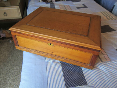 19th C. Large Hand Made & Decorated Wooden Tea Caddy