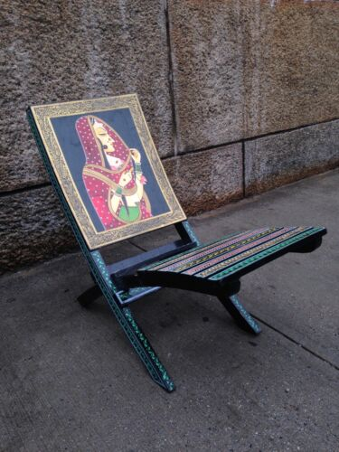 Vintage INDIA Hand-craft/Painted Art Wooden Chair