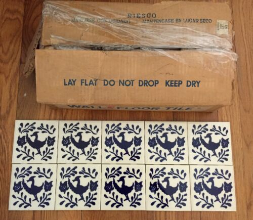 """Vintage Hand painted Azulejos Mexican Ceramic Tile 4.5"""" blue & white 100 pieces"""