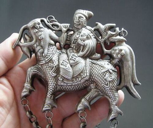 Old Chinese tibet Silver Carved kirin figure Shape Pendant 18th