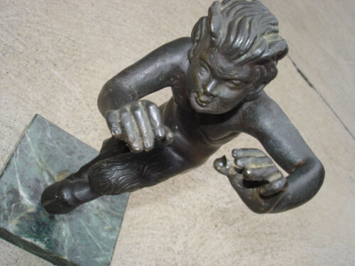 """Antique Black Bronze Patina Old Statue Wolf Boy 8"""" A1 Beautiful On Marble"""
