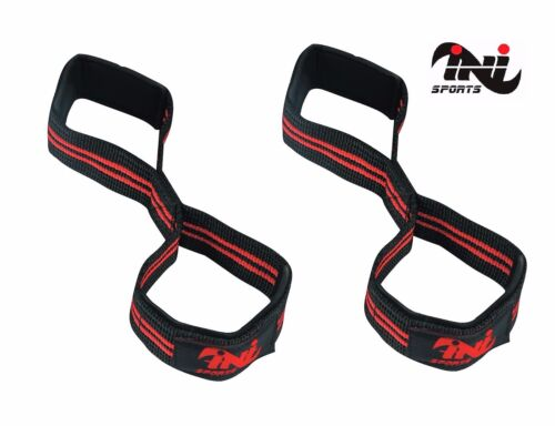 INI Padded Cuff Weight Lifting Training Gym Straps Hand bar Grip wrist Figure 8