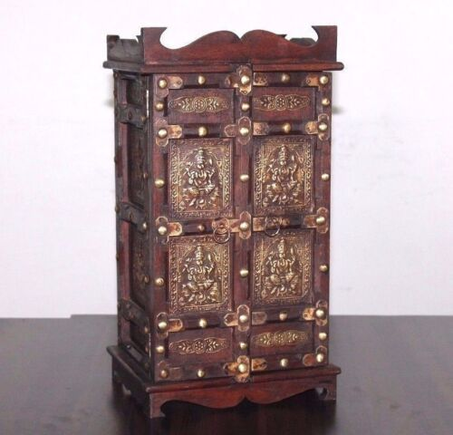 Antique Reproduction Brass Design Fitted Handmade Wooden Small Puzzle Cabinet