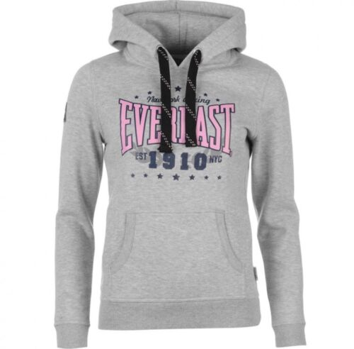 Everlast Hoodie Top Womens Logo Grey Marl Size Uk8 New FREE DELIVERY