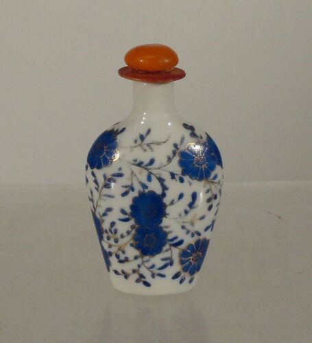 Antique Vintage Chinese Porcelain Underglaze Blue and White Gilt Snuff Bottle