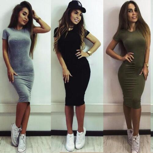Fashion Women Short Sleeve Bodycon Casual Party Evening Cocktail Mini Dress NEW