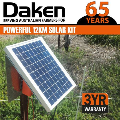 12km Solar Power Electric Fence Energiser Energizer 1.2J DAKEN Farm Horse Animal <br/> DAKEN -Trusted by Australian farmers for over 65 YEARS!