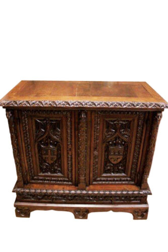 Elaborately Carved French Gothic Sideboard, Server in Oak, Circa 1850's