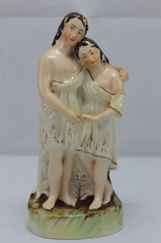 Antique Porcelain Figurine of Adam & Eve Couple Gold Trim Dress - Marked
