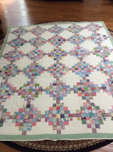 "Beautiful Antique Handmade Patchwork Hand Quilted Small Squares 70"" By 83"""