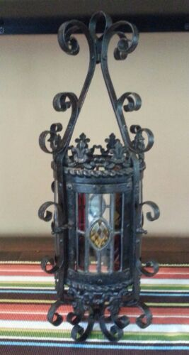 FRENCH VINTAGE WROUGHT IRON & STAINED GLASS PORCH CHANDELIER LANTERN GORGEOUS!
