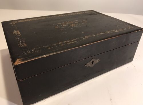 Victorian 1880's Antique Wood Lap/Travel Desk Box Purple Velvet Interior