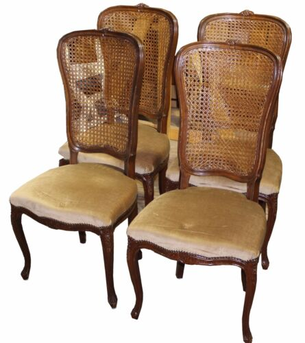 Set of Four French Louis XV Cane Back Velvet Dining Chairs, Custom