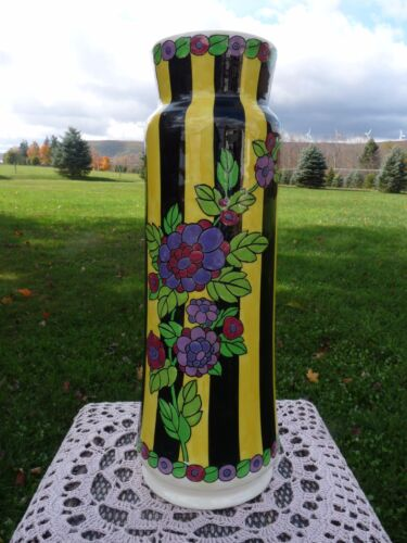 """BOCH FRERES Belgium CYLINDRICAL Striped Floral CHARLES CATTEAU 15"""" Art Deco VASE"""