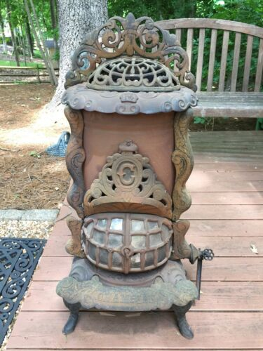ANTIQUE GAS Victorian PARLOR STOVE CAST IRON Champion No 14 Cleveland, OH