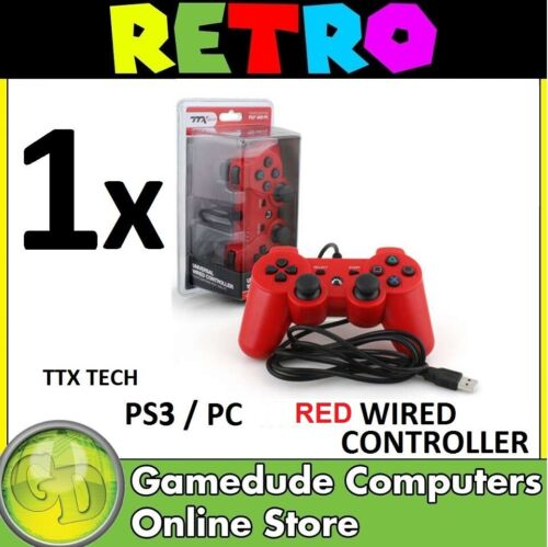 TTX Tech PS3 / PC RED Wired Controller MODEL : NXP3-268 (849172001268) [F03]