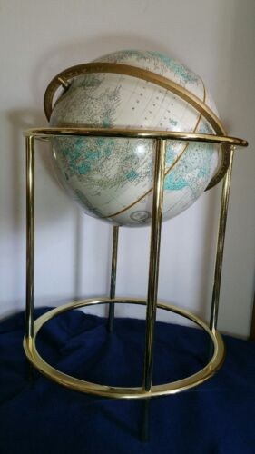 "Vintage Cram's Imperial 16"" World Globe Floor w/ Gold Metal Stand George F Cram"