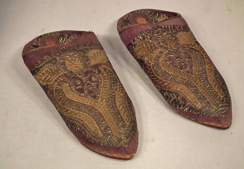 Antique Turkish Ottoman Silver Embroidered Islamic Shoes Mules Alippers