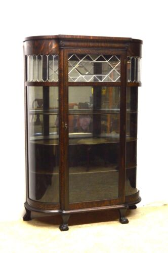 Antique Quartersawn Oak Curved China Display Cabinet Curio Leaded Glass