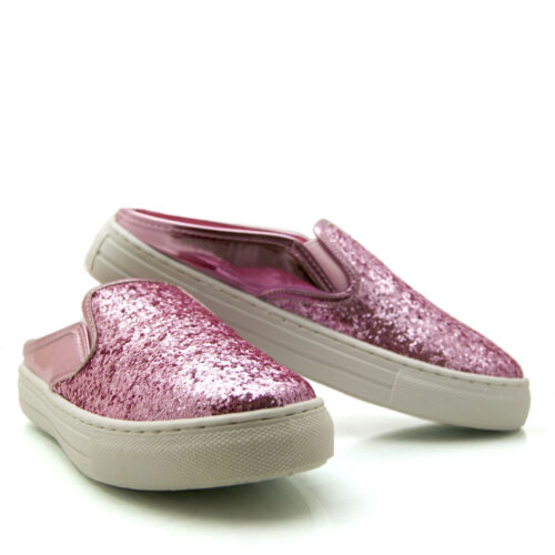 Ladies Womans backless Glitter metallic slider trainers Silver Pink Blue Black