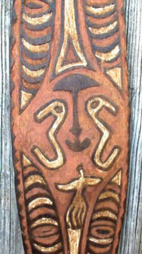 Carved wood Board or Bullroarer, Papuan Gulf, Papua New Guinea