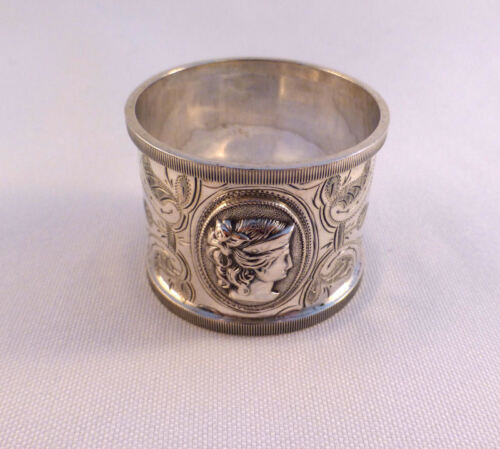 Medallion-Coin Silver Brite Cut Napkin Ring-Engraved  Mono dated 1870