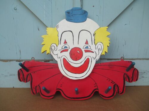 vintage CLOWN HEAD - Coat * Hat / Rack -  Circus * Carnival  -  WALL MOUNTED